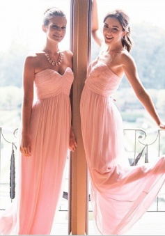 Hot Selling Sweetheart Floor Llength Ruffles Pink Chiffon Bridesmaid Dress