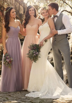 Elegant Sweetheart Light Purple Long Chiffon Bridesmaid Dress