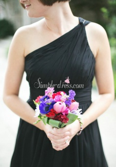 Simple One Shoulder Ruffles A-line Knee-length Chiffon Black Bridesmaid Dresses CHBD-71123