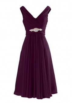 Simple-dress  V Neck A-Line Knee Length Chiffon Bridesmaid Dresses CHBD-81314
