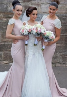 Mermaid Bridesmaid Dress - Pink Bateau Sweep Train Cap Sleeves with Beading