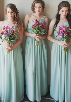 Modern A Line One Shoulder Chiffon  Floor Length Bridesmaid Dress