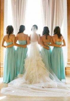 Simple A-line Sweetheart Floor-length Blue Chiffon Bridesmaid Dress With Ruffles