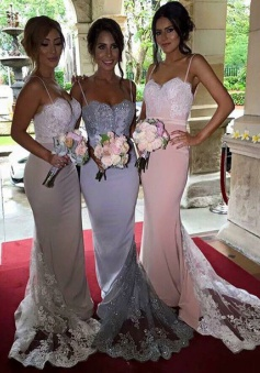 Amazing Spaghetti Mermaid Long Bridesmaid Dress with Train