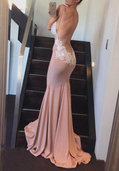 Sexy Mermaid V-neck Long Bridesmaid Dress with Open Back