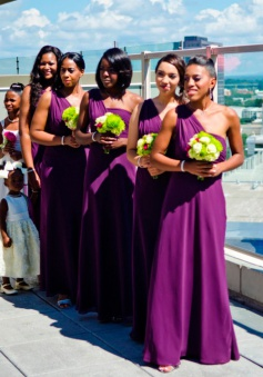Gorgeous One-shoulder Long Chiffon Purple Bridesmaid Dress/Wedding Party Dress