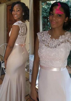 Gorgeous Mermaid Scoop Long Bridesmaid Dress with Sash