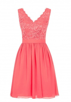 Elegant V-neck Short Chiffon Coral Bridesmaid Dress/Wedding Party Dress