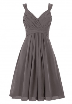 Simple A-line V-neck Short Chiffon Knee-length Bridesmaid Dress/Wedding Party Dress