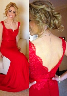 Elegant Mermaid Long Lace Red Prom Dress/Wedding Party Dress