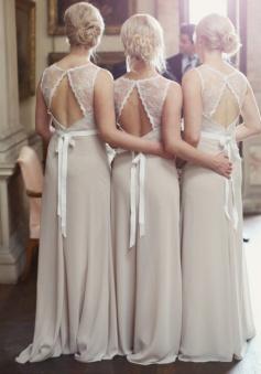 Elegant Long Chiffon Bridesmaid Dress - Open Back Sash Lace Top
