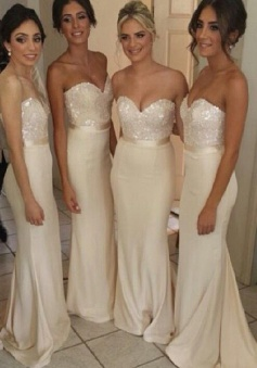 Gorgeous Mermaid Strapless Long Bridesmaid Dress/Wedding Party Dress
