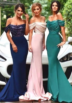 Gorgeous Off-The-Shoulder Mermaid/Trumpet Bridesmaid Dress with Sequins