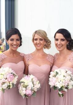 Elegant Scoop Cap Sleeves Floor-Length Bridesmaid Dress with Appliques Ruched