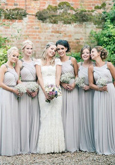 Exquisite Floor-Length Sleeveless Grey Bridesmaid Dress with Beading