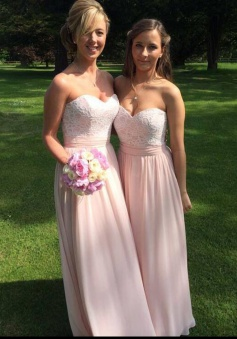 Stunning Sweetheart Floor-Length  Pink Bridesmaid Dress with Lace