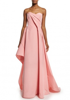 High Quality Sweetheart Sweep Train Pink Bridesmaid Dress with Pleats