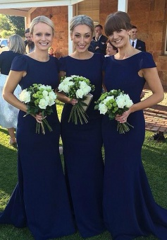 Simple Mermaid Bateau Cap Sleeves Sweep Train Navy Bridesmaid Dress
