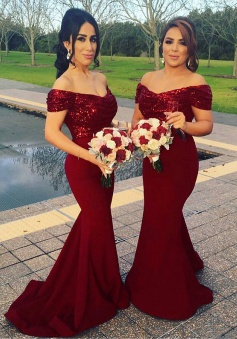 Mermaid Off Shoulder Sweep Train Dark Red Bridesmaid Dress with Sequins