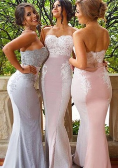 Decent Sweetheart Sweep Train Mermaid Bridesmaid Dress with Appliques Beading