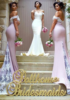 Mermaid Off-the-Shoulder Sweep Train Bridesmaid Dress with Lace