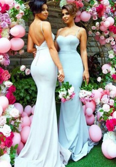 Mermaid Spaghetti Straps Sweep Train  Bridesmaid Dress
