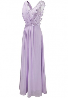 Special Scoop Sleeveless Floor-Length Lavender Bridesmaid Dress with Patchwork