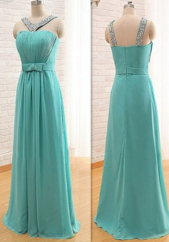 Stylish V-neck Floor-Length Turquoise Bridesmaid Dress with Beading Bow