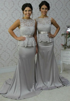 Elegant Scalloped-Edge Sweep Train Sheath Silver Bridesmaid Dress Lace Top with Bow Sash