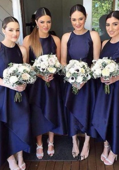 Simple Tea-Length Jewel Sleeveless Navy Blue Tiered Bridesmaid Dress