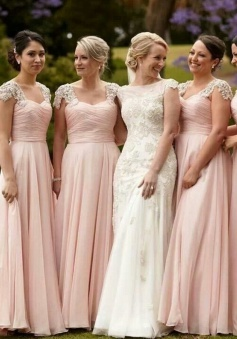 Stunning Scoop Cap Sleeves Floor-Length Pink Chiffon Bridesmaid Dress with Beading
