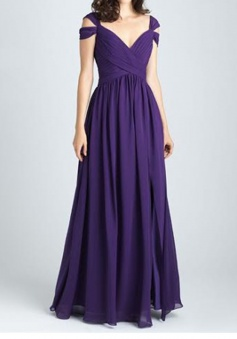 Stylish V-neck Floor-Length Purple Ruched Bridesmaid Dress Backless