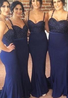 Glamorous Spaghetti Straps Sleeveless Beading Mermaid Long Bridesmaid Dress