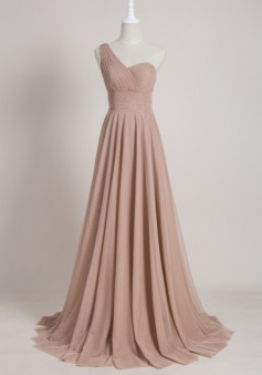 Elegant One Shoulder Long Ruched Sleeveless Bridesmaid Dress