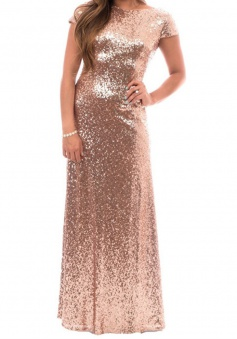 Decent Bateau Backless Short Sleeves Long Rose Gold Bridesmaid Dress