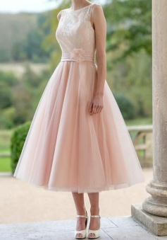 Simple Bateau Sleeveless Tea-Length Flower Pearl Pink Prom Dress with Lace