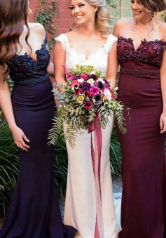 Stunning Off Shoulder Sweep Train Burgundy Mermaid Bridesmaid Dress with Beading