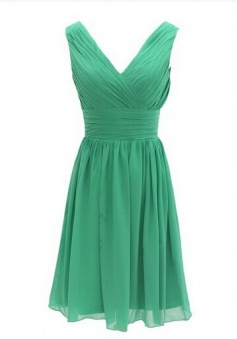 New Style V Neck  Knee Length Pleats Chiffon Green Bridesmaid Dress