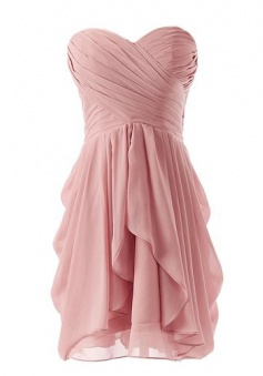 Best-selling Sweetheart A-line Short Ruffle Blush Pink Bridesmaid Dress