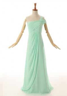 New Style A-line One Shoulder Floor Length Chiffon Mint Bridesmaid Dress With Ruched