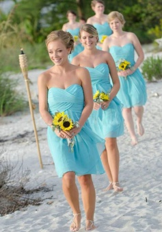 Elegant A-line Sweetheart  Knee Length Ruched Chiffon Blue Bridesmaid Dress