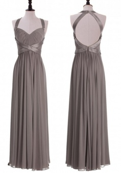 Timeless Halter A-line Floor Length Chiffon Grey Backless Bridesmaid Dress With Ruched