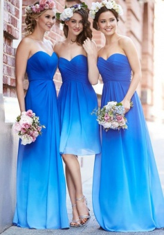 Elegant Sweetheart Floor Length Chiffon Blue Bridesmaid Dresses With Ruffles