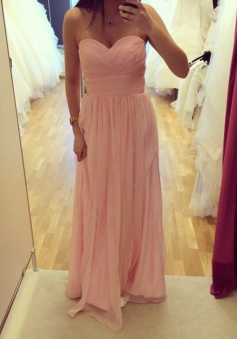 Modern A-line Sweetheart Floor Length Ruched Chiffon Bridesmaid Dress