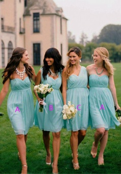 Timeless Sheath Sweetheart Knee Length Blue Bridesmaid Dress with Ruched