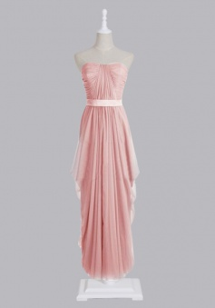 Hot-selling Strapless Zipper-up Long Chiffon Bridesmaid Dress