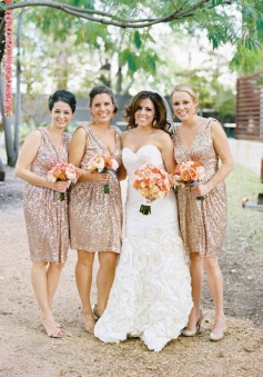 Hot Selling Sexy V-neck Knee-Length Sequin Champagne Bridesmaid Dress