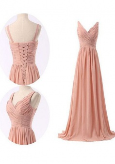 Simple V-neck Ruffles Long Chiffon Bridesmaid Dresses CHBD-70901