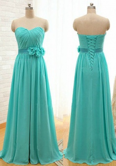 Classic A-Line Sweetheart Floor Length Blue Bridesmaid Dress with Flower