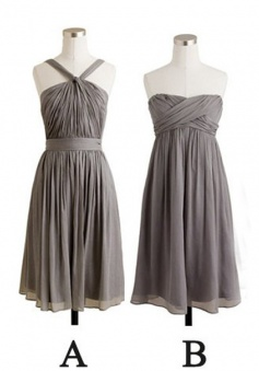 New Arrival Simple Grey Short A Line Chiffon Bridesmaid Dress CHBD-80046